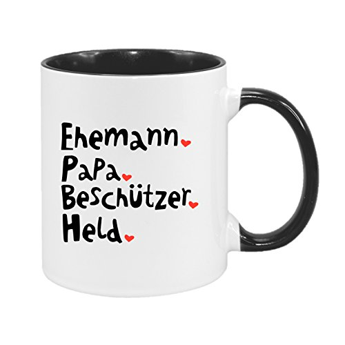 Ehemann. Papa. Beschützer. Held - hochwertiger Keramik-Kaffeebecher - Kaffeetasse - Spruchtasse - Tasse mit Spruch
