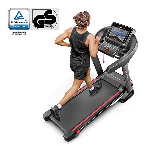 Sportstech F37 Profi Laufband 7PS bis 20 km/h, Selbstschmiersystem, Smartphone Fitness App, 15% Steigung, Bluetooth MP3, große Lauffläche mit 8 Zonen Dämpfungssystem bis 150 Kg - klappbar