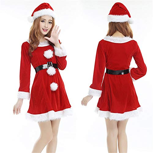 ntel mit Kapuze Cape Robe Mrs Santa Claus Kostüm Kostüm mit Hut ()