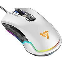 VicTsing Ratón Gaming Programable RGB Retroiluminación Adjustable, 6 Botones y 6 DPI Nivel, Sensor Óptico, DPI 7250 Máximo, Erogonómico Professional Ratón Gaming con Cable para PC, Ordenador, Portátil, Computadora - Blanco