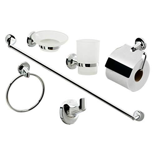 6-teiliges Badezimmer-Zubehör-Set - Toilettenpapierhalter, Handtuchhalter, Seifenschale, Chrom (Badezimmer 6-teilig)