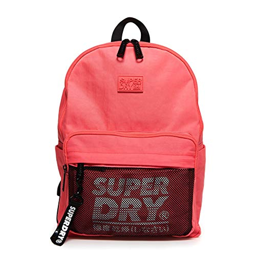 Superdry Damen Mesh Pocket Backpack Rucksack, Pink (Deep Coral), 35x20x45 cm