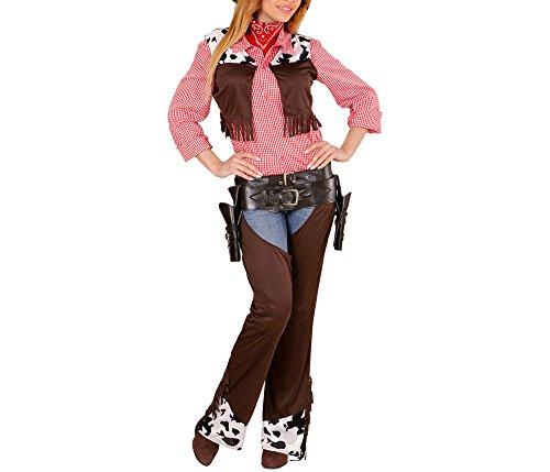 Widmann 02893 - Erwachsenenkostüm Cowgirl, Weste, Chaps und Gürtel, braun, Größe L
