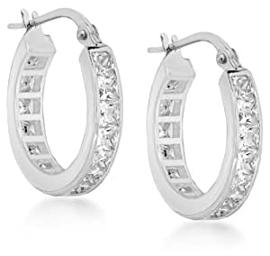 Tuscany Silver Sterling Silver White Cubic Zirconia Hoop Earrings