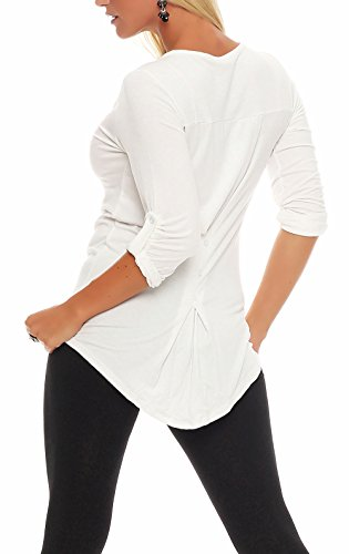 Malito Damen Bluse in Unifarben | Tunika mit Knopfleiste | Blusenshirt ¾ Arm | Hemdbluse �?Shirt �?Elegant 5540 Weiß