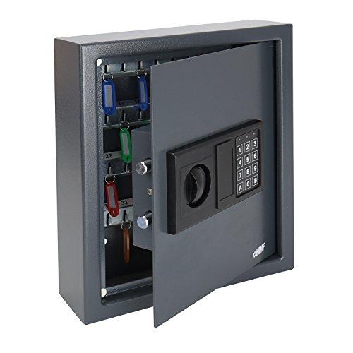 La caja fuerte para llaves convence con una cerradura de seguridad electrónica.  - caja fuerte para llaves de acero 3 mm - puerta de pared doble con bloqueo seguro por la espiga de cierre - 4 barras para ganchos regulables, una tira de gancho fijo, c...