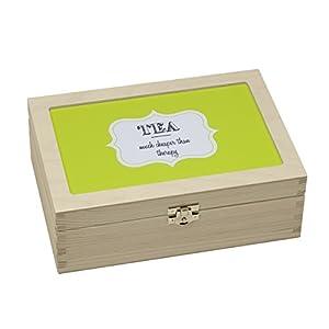 Contento 866377 Tea Much Cheaper Than Therapy Boîte à Thé Bois Vert 23,5 x 16,5 x 9 cm