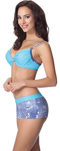 aQuarilla Damen Bikini Set AQ124 Blau Jeans/Blau