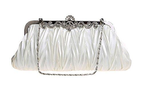 Heyjewels Elegant Faltig Abendkleidung Clutch Ballabend Damenhandtasche Beige