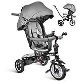besrey Dreirad 7-in-1 Kinder Fahrrad mit 360° Drehsitz + Luftkammerrad + Liegefunktion ab 9 Monate bis 6 Jahre + Regenschutz