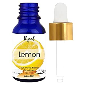 Ryaal Essentials Steam-Distilled Lemon Essential Oil - 30ML- 100% Pure, Natural and Therapeutic Grade - Enriched in Vitamin C and Natural Antioxidants - Ideal for Aromatherapy & for DIY Products - Diffuser-Ready - Perfect Choice for Clean, Clear and Radiant Skin (30ML)
