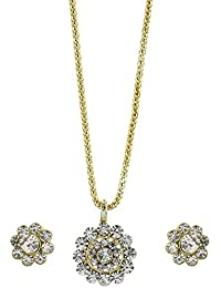 Zeneme American Diamond Gold Plated Pendant Set With Earring Jewellery For Girls / Women