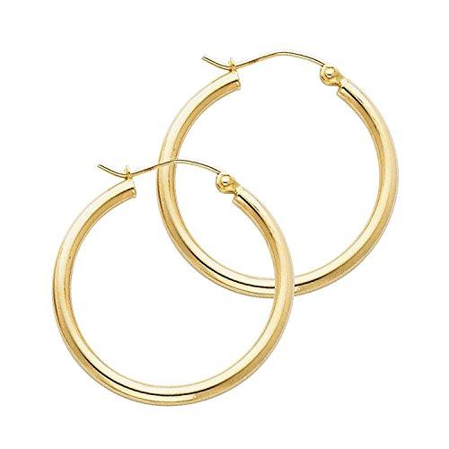 14 Karat 585 Gold Hochglanz Creolen Ohrringe Gelbgold - Breite 2 mm - Große Wählbar (30 Millimeter)