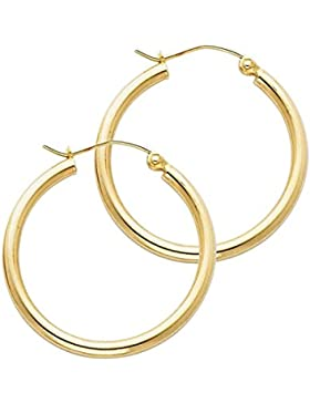14 Karat 585 Gold Hochglanz Creolen Ohrringe Gelbgold - Breite 2 mm - Große Wählbar