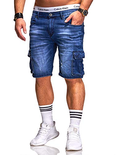 Rello & Reese Herren Cargo Designer Shorts Jeans Kurze Hose Sommer Bermuda (W32, 1916 (Blau))
