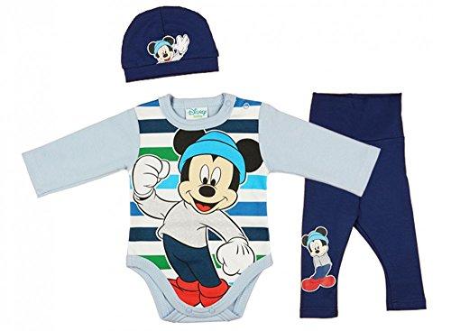 ABY-SET Mickey Mouse 3-teilig, Baby-Body mit Hose und Mütze in GRÖSSE 56, 62, 68, 74, 80, Spiel-Anzug, Schlaf-Anzug langärmlig, Geschenk für Neugeborene Farbe Blau, Größe 56 (Winnie The Pooh Baby-outfit)