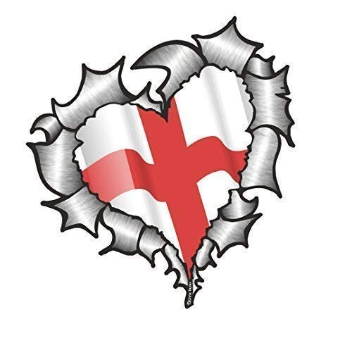 Herzförmige Zerrissenes Metall England Englische Flagge für Fußball Team Fan Match Auto Aufkleber 105x100mm England-match