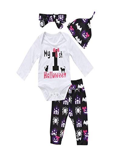 (Baby Jungen Mädchen Neugeborenen Langarm Brief Drucken Strampler Overall Kleidung Hosen Set mit Hut und Stirnband 4 Stück Outfits Halloween Kostüm Karneval Party von Innerternet)