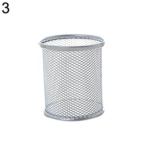 AchidistviQ Stiftehalter Metall Hohl Vase Topf Bürobedarf Aufbewahrung Schreibtisch Container, Metall, Silber, Round# (Zwischenablage Mit Gold)