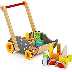 Chariot de Marche avec Forme et Couleur, trotteur multi activités en bois jouets en bois activité bois trotteur Jouet de Premier Age, blocs colorés, Cubes