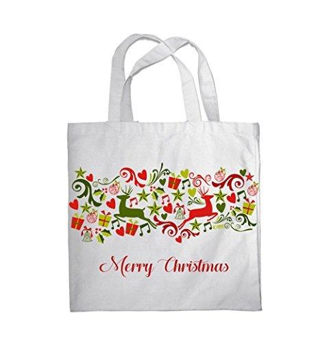 COLOUR FASHION Merry Christmas Jingle Bells Spesa Spiaggia Palestra Borsa di stoffa 0081 Bianco