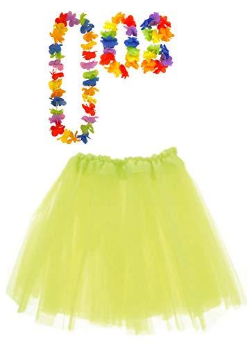 Labreeze Neon Gelb Tutu Rock mit Satinband Hula Lei Set Hawaiian Party Fasching (Neon-hula-rock)