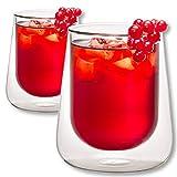 1aTTack.de 833291 Trink/Thermo-Glas 320 ml doppelwandig Modell Lara für Heiß- und Kaltgetränke, 2-Stück