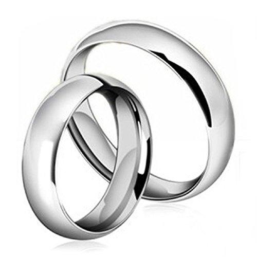 DOLOVE Hochzeit Ringe Edelstahl für Damen und Herren Hochglanzpoliert 6 MM Rund Eheringe Silber Trauringe Frauen Männer Damen Gr.60 (19.1) & Herren Gr.65 (20.7) (Topas Weissgold London Ring In Blue)