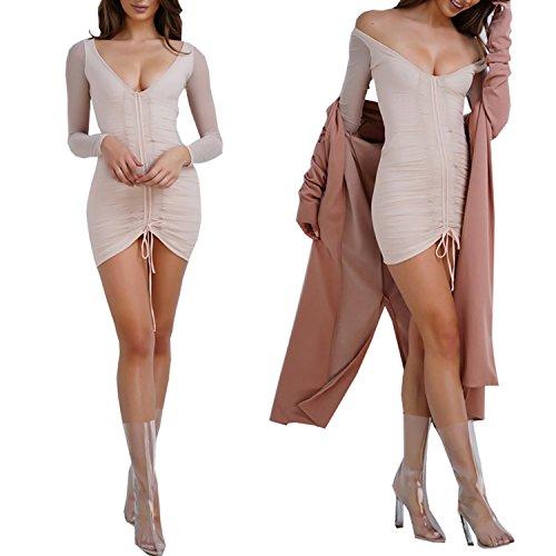 DD UP Damen V-Neck Sexy Frauen Lace Up Langärmlig Elastizität Bodycon Minikleid Pink