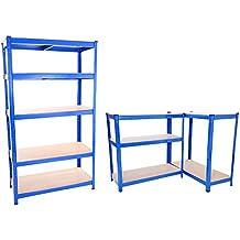 Songtree - (180x90x40cm) Estantería Metálica de 5 Baldas sin tornillos Color Azul Almacenaje de Garaje o Hogar Multiusos
