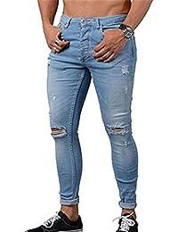 Skinny Vaqueros Hombre - Fashion Slim Fit Pantalones Rotos con Bolsillos  Casual Verano Primavera Pantalón Mezclilla 09bf262b5484