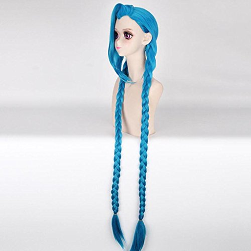 Cosplay Blau PerüCke Hochtemperaturseide Langes, Glattes Haar PerüCke Von 120cm (Nicht Mainstream Halloween Kostüme)