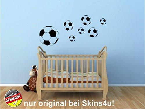 Preisvergleich Produktbild Wandtattoo Fussball Fußbälle 7er Set in schwarz - Wandaufkleber Kinderzimmer - original Stickerkoenig Fussballer, Bälle, Kinderzimmer in schwarz