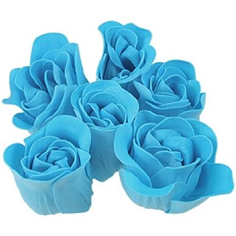 Azul Turquesa Rose Design Baño Jabón Perfumado Pétalo 6 PIEZAS