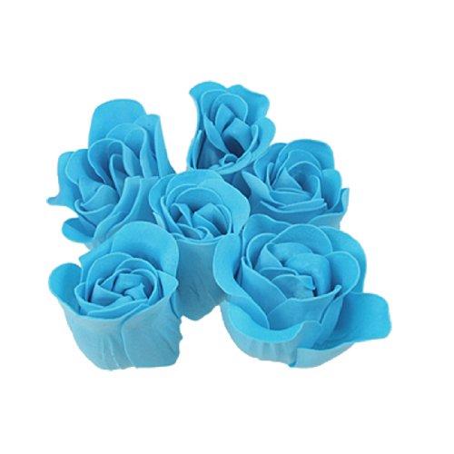 Sourcingmap – Savon en forme de rose Bleu Turquoise avec pétales parfumées, pour le bain, 6 pièces