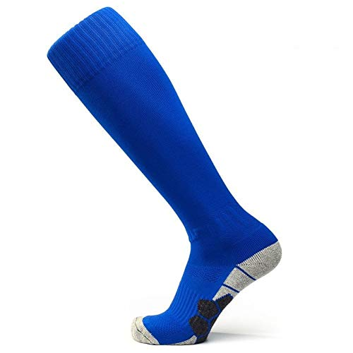 WADUANRUN Herren Stutzenstrumpf World Cup Erwachsene rutschfeste Outdoor-Fußball-Socken Lange Röhre über das Knie Sporttraining Socken 38-46cm blau - Größe 6 Basketball-schuhe Nike Jungen