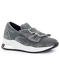 Liu Jo Chaussures Femme Baskets à Enfiler B68011 TX006 Karlie 09 Slipon Bow  Noir Argent 2819a29da908