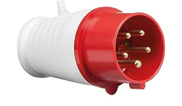 Buy Industrial Plug Set 3 Phase 5 Pin 32 Amp IP44 (Red ... on