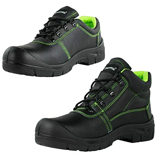 SAFETYTEX Sicherheitsschuhe S3 Stahlkappe Leder Arbeitsschuhe schwarz Schnürstiefel Halbschuhe leicht ergonomisch rutschhemmend, Halbschuh, 48