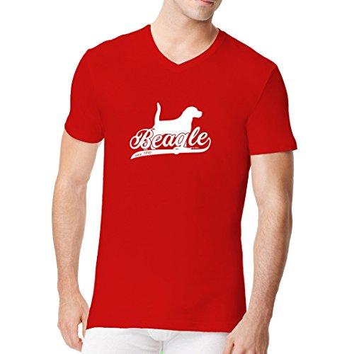 Im-Shirt - Hunde Motiv: Beagle (weiß) cooles Fun Men V-Neck - verschiedene Farben Rot