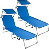 TecTake Beautiful Outdoor Folding Garden Sun Lounger with Sunshade Recliner Chair - different colours and quantities - (2x Blue)