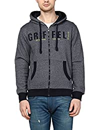 Griffel Latest New Designer Stylish Eco-Friendly Cotton Fleece Zipper Printed Sweatshirt/Pullover Full Sleeve With Hoodie For Men/Boys (Black)