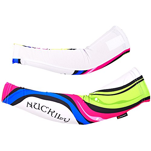 nuckily Sports Warmers Custom Bike Cycling Arm Sleeves with UV Sun Protection Large