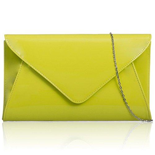 Zarla, pochette piatta da donna brevettata, per feste nuziali e serate Verde (Lime)