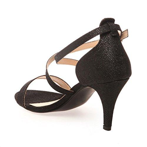 La Modeuse - Sandales à talons avec brides croisées Noir