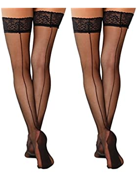 Yenita® Pack de 2 Medias autoadhesivas con costura y encaje borde negro