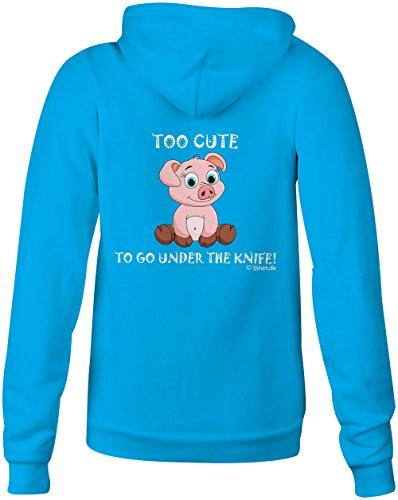 Too cute to go under the Knife Pig Vegan ★ Confortable veste pour femmes ★ imprimé de haute qualité et slogan amusant ★ Le cadeau parfait en toute occasion hellblau
