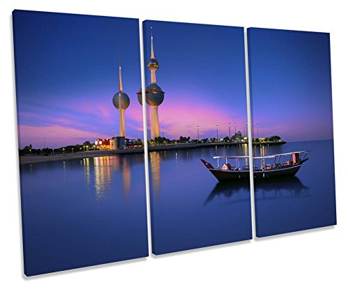 Canvas Geeks Kunstdruck auf Leinwand, Motiv Kuwait Towers Cityscape, 3 Stück, 150cm Wide x 100cm high - Kuwait Towers
