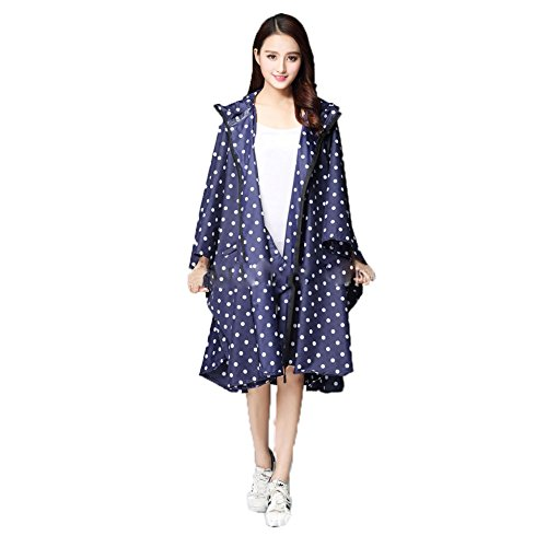 yipinco7285 -  Giacca impermeabile  - Donna Blue Dots