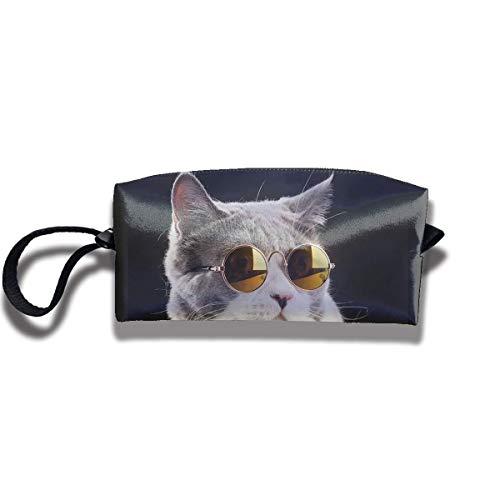 Niedliche Brille Katze Leinwand Reisen Make-up Tasche Stift Tasche große Lagerung Inhaber Tasche
